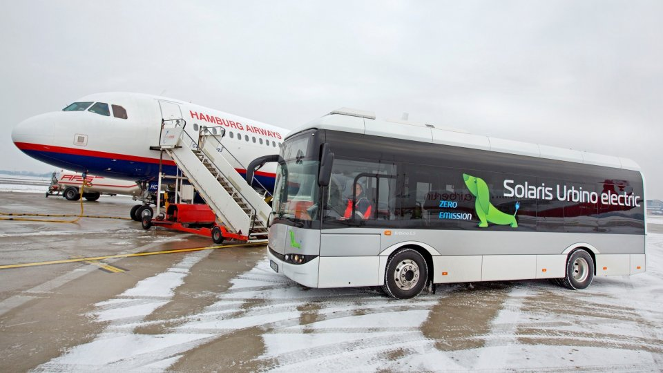 Electric buses on the airport of Hamburg